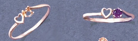 Cadre solide 10kt jaune ou or blanc coeur mode Pre-Notched blanc bague de taille 4-7 143-676, bague en or abordable