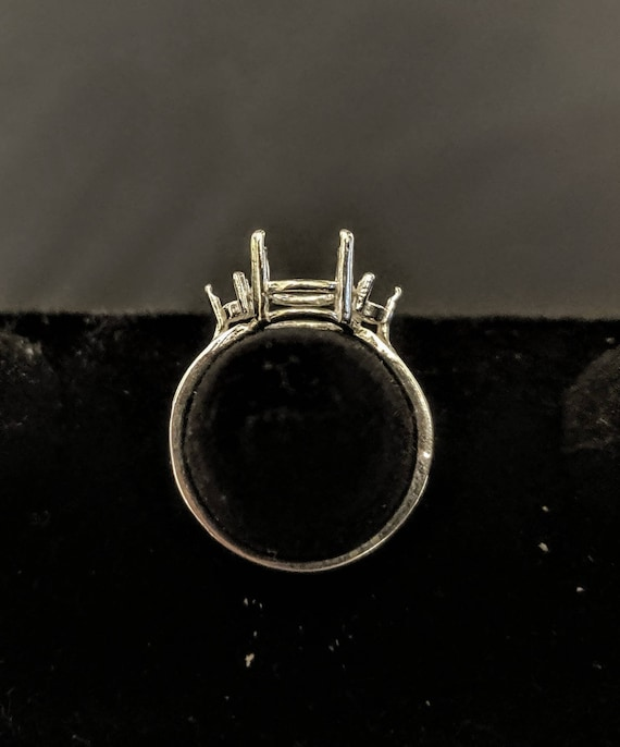 Solid Sterling Silver or 14kt White or Yellow Gold 6x4-10x8 Oval w Oval Accents blank Pre-Notched Ring setting Size  8 163-551143-551