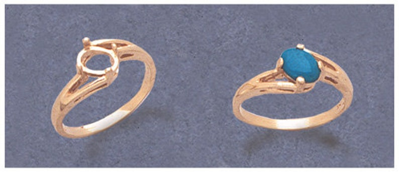 Blank Offset Ring setting Size 7 163-568143-568 Cabochon Solid Sterling Silver or 14kt Gold 7X5-10X8 Oval Cab