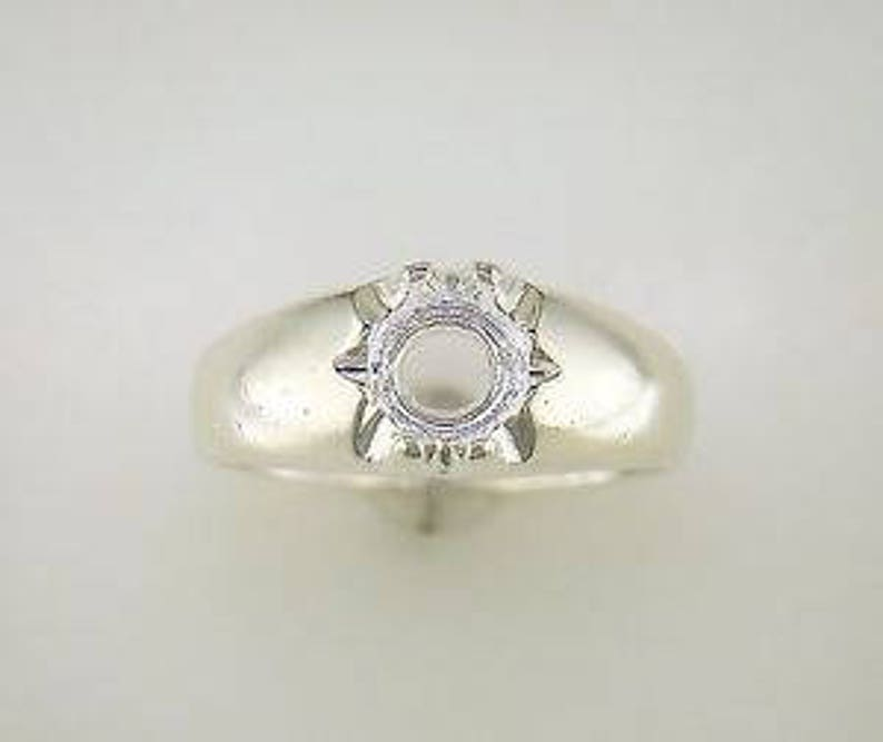 Sterling Silver 6mm Round Gypsy Pre-Notched Blank Ring Size 9 shank setting 163-442