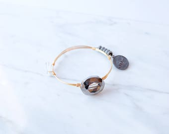 The Finley Bangle - Navy Wire Wrapped Stone Bangles, Wire Wrapped Bracelet, Stone Bangle, Stone Bracelet, Stackable Bangles