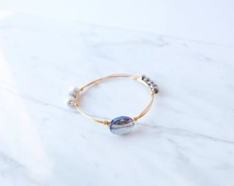 The Rowan Bangle - Navy Wire Wrapped Stone Bangles, Wire Wrapped Bracelet, Stone Bangle, Stone Bracelet, Stackable Bangles