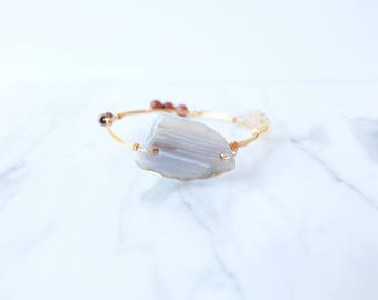 The Coraline Bangle - Ivory and Rust Wire Wrapped Stone Bangles, Wire Wrapped Bracelet, Stone Bangle, Stone Bracelet, Stackable Bangles