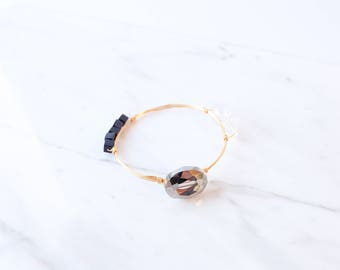 The Annalise Bangle - Navy Wire Wrapped Stone Bangles, Wire Wrapped Bracelet, Stone Bangle, Stone Bracelet, Stackable Bangles