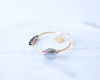 The Thea Bangle - Navy Wire Wrapped Stone Bangles, Wire Wrapped Bracelet, Stone Bangle, Stone Bracelet, Stackable Bangles