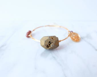 The Darcy Bangle - Mocha and Gold Wire Wrapped Stone Bangles, Wire Wrapped Bracelet, Stone Bangle, Stone Bracelet, Stackable Bangles