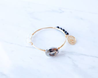 The Astrid Bangle - Navy Wire Wrapped Stone Bangles, Wire Wrapped Bracelet, Stone Bangle, Stone Bracelet, Stackable Bangles