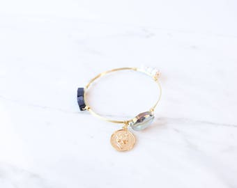 The Mavis Bangle - Navy Wire Wrapped Stone Bangles, Wire Wrapped Bracelet, Stone Bangle, Stone Bracelet, Stackable Bangles