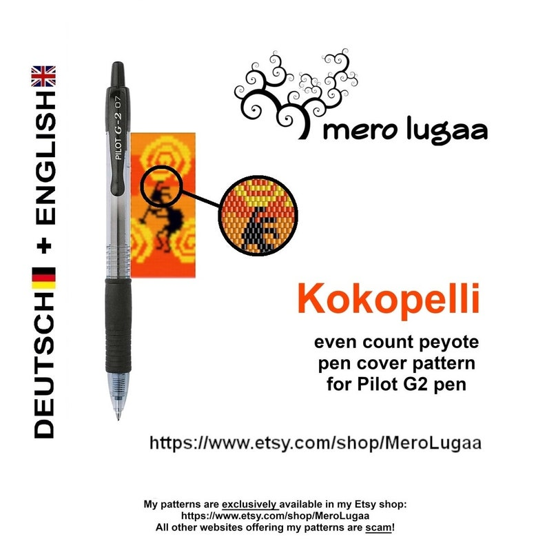 Kokopellipeyote pen cover pattern peyote pen wrap pattern   instruction  tutorial  flat even count peyote  native American pattern
