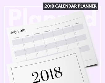 2018 Calendar Printable / 12 month printable / 2018 calendar PDF / Month on one page / 2018 monthly planner / Calender printable / MO1P