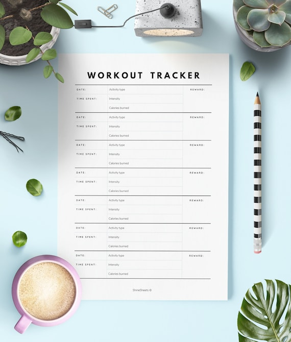 graphic relating to Workout Tracker Printable named Work out Tracker Printable / Training tracker / Exercise planner / Health tracker / Health and fitness tracker printable / Training software / Bullet magazine