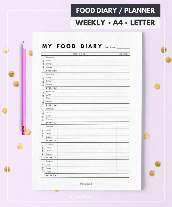 food diary food tracker diet diary food journal food etsy