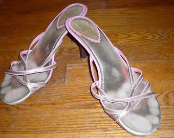 Lilly Pulitzer via Palm Beach Pink & Gold Strappy Kitten Sandals Size 8.5M