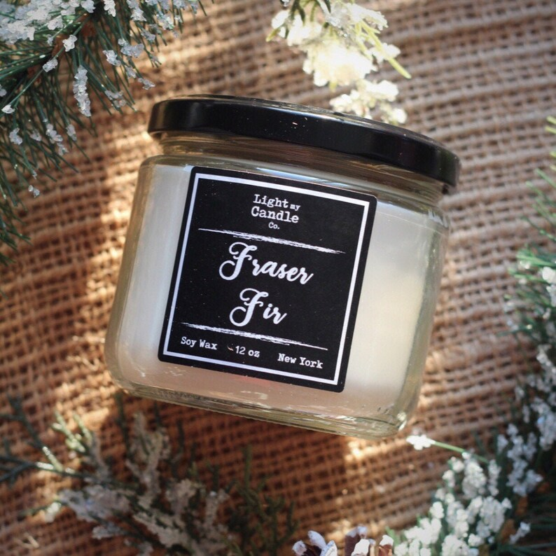 Fraser Fir Christmas Candle christmas decor winter candle pine scented soy candle handmade mason jar white elephant gift  stocking stuffer