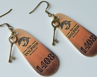 1408 Inspired Hotel Room Key Earrings, Horror Jewelry, Nickel Free