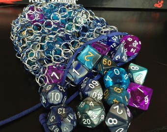 ChainMail Blue and Silver Dice Bag RPG Dice