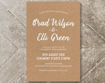 Wedding Invitation - Kraft White Ink