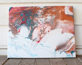 Red,blue, and orange Pour Paining.