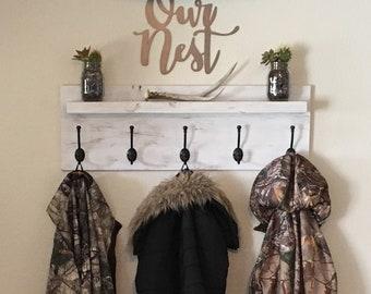 Distressed Floating Shelf Coat Rack