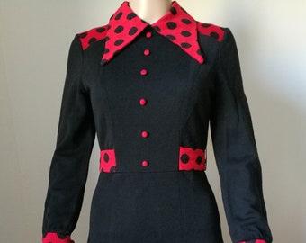 Vintage mod 60s 70s Gwendacril polka dot ladybug a-line dress size XS-S
