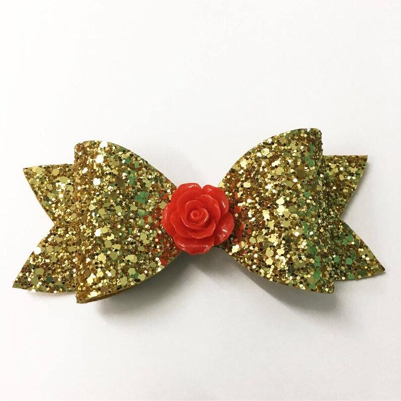 Belle inspired hair bow / Disney hair bow / Luxury glitter image 0