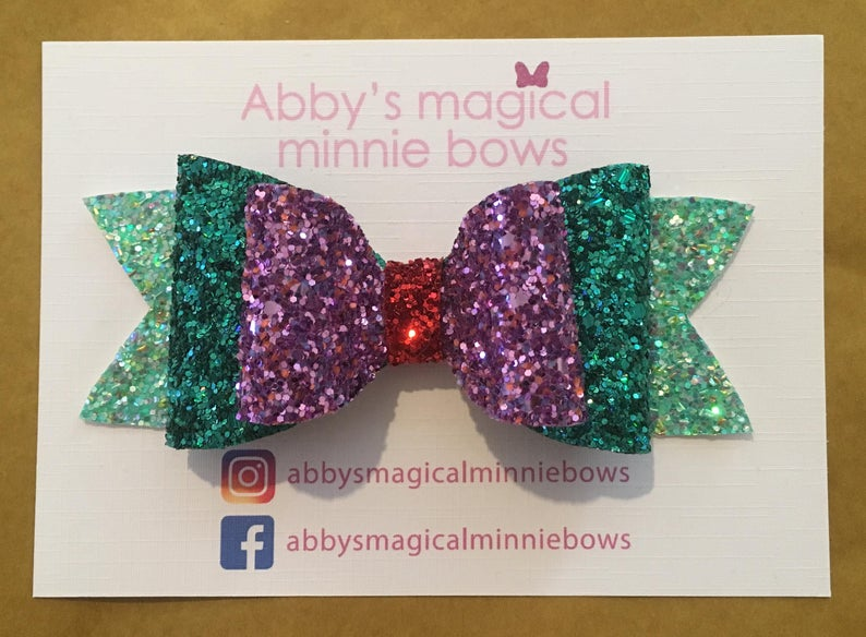 Ariel inspired glitter hair bow  Disney hair bow  Little image 0