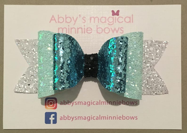 Elsa inspired bow  Disney hair bow  turquoise and white image 0