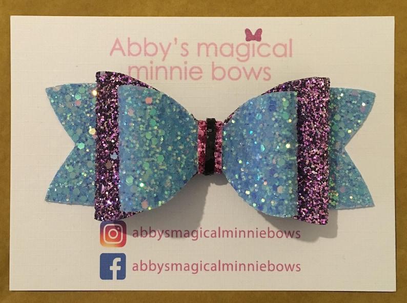 Eeyore inspired hair bow  Disney hair bow  glitter bow  image 0