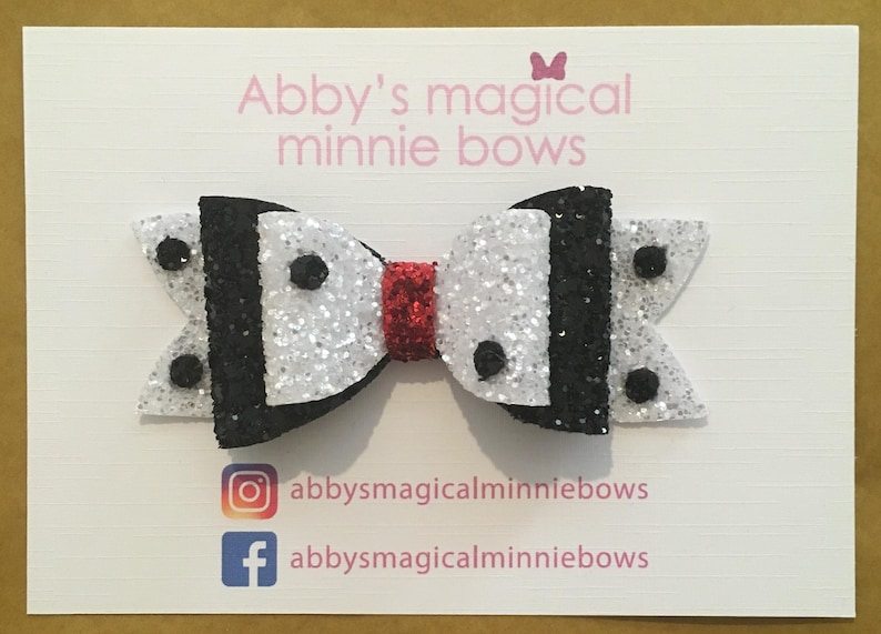 Cruella De Vil inspired hair bow  Disney inspired hair bow  image 0