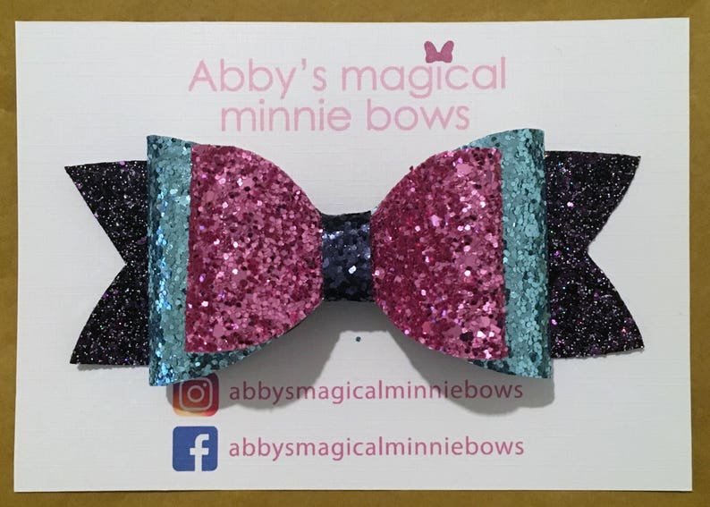 Stitch inspired glitter hair bow  Disney hair bow  Lilo and image 0