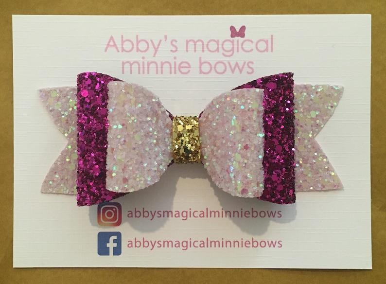 Aurora inspired hair bow  Disney hair bow  pink magenta and image 0