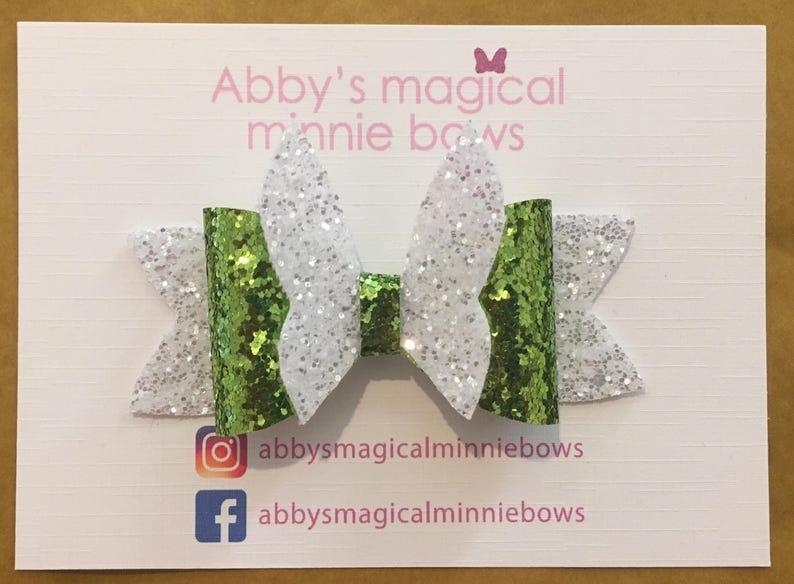 Tinkerbell inspired hair bow.  Disney hair bow  Disney image 0
