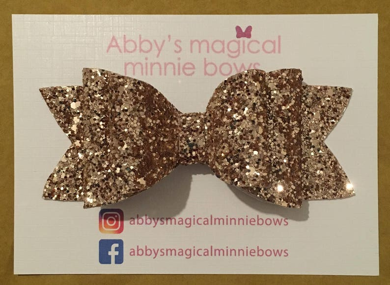Rose gold glitter hair bow  Gift for her  luxury hair bow  image 0
