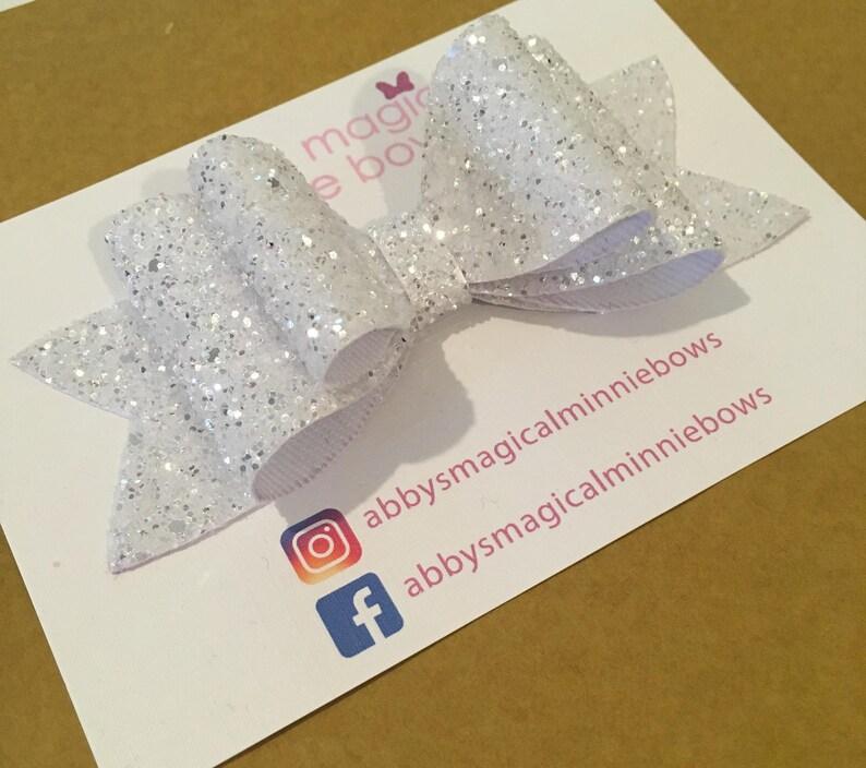 White glitter hair bow  luxury hair bow  handmade hair bow  image 0