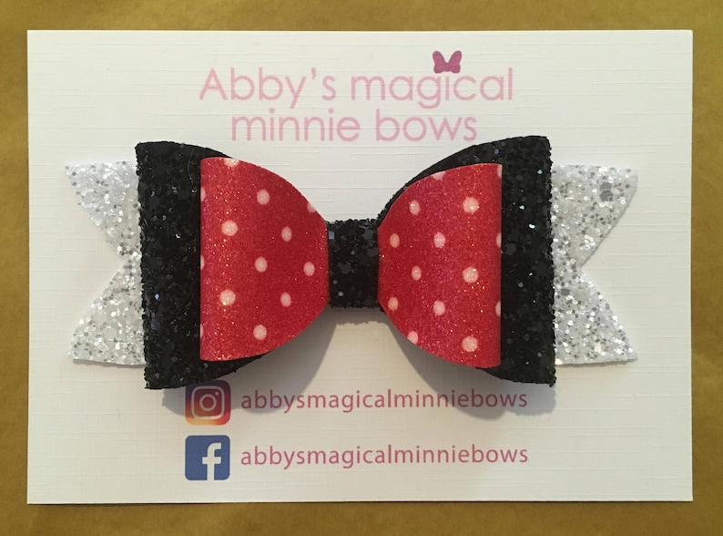 Minnie Mouse inspired hair bow  Disney hair bow  red white image 0