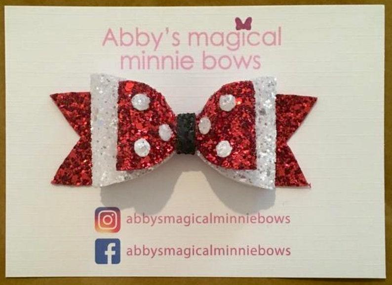 Minnie Mouse inspired hair bow  Disney hair bow  polka dot image 0