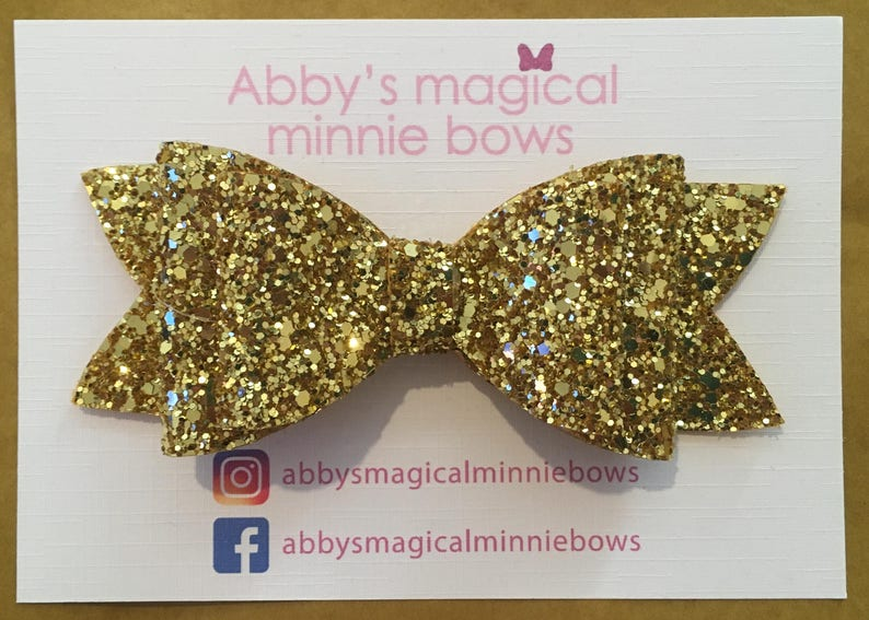Gold hair bow  Luxury hand made glitter hair bow  yellow image 0