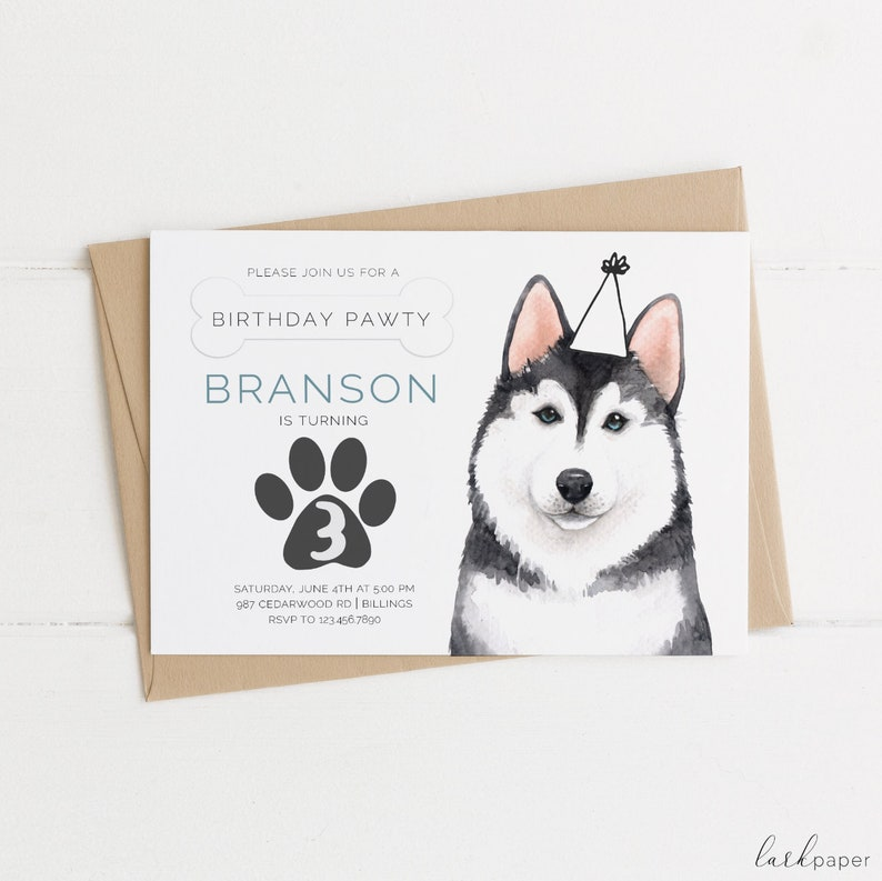 Siberian Husky Birthday Invitation Puppy Dog Party Invite Gray And White Pup Boy Doggy