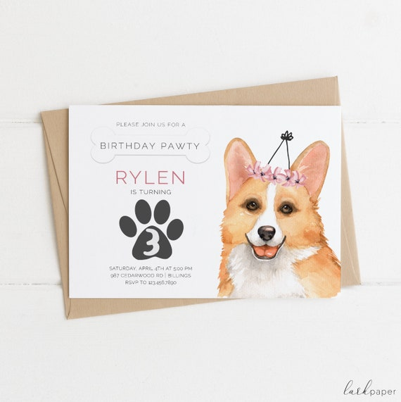 Corgi Birthday Invitation Puppy Dog Party Invite Girl 5x7 Printable Celebration Flowers Pup