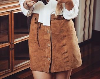 5e83a1f16fd73 Jupe en daim, jupe Vintage, jupe crayon, cognac, mini-jupe taille haute des  années en cuir daim, jupe MINIMAL, jupe femme sur mesure, cadeau