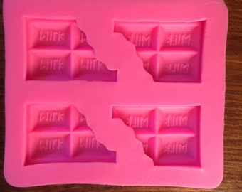 Flexible silicone Mould 4 bars Chocolate-Kawaii-resin-Polymer clay-Cake-Easter-spring-Decoden-plasters