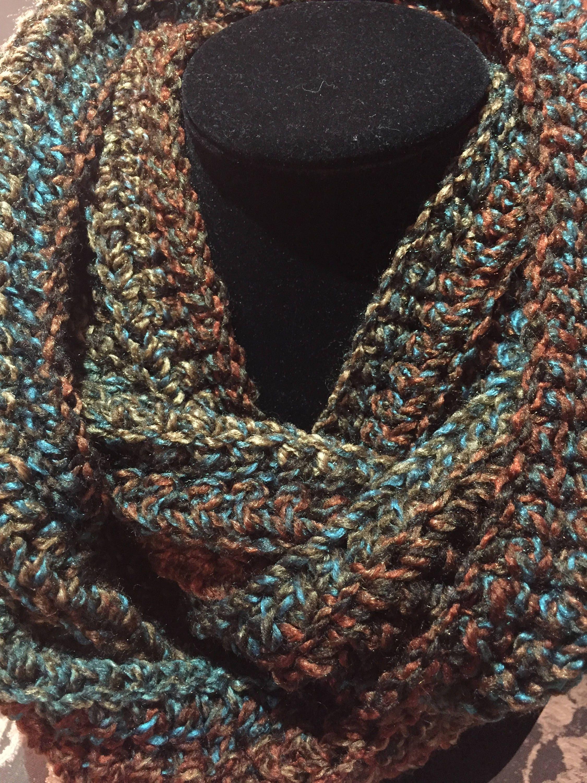 Damen häkeln Infinity Schal Wälder Loop gerippten Schal