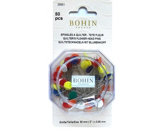 Flower Head Pins from Bohin, Assorted Colors