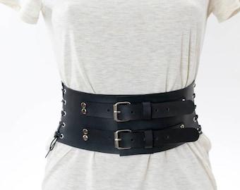 Green Faux Leather Flower Design Corset Belt W//Cross Laces /& Shoulder Strap