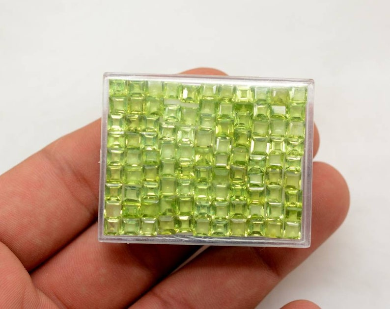 40 Cts Calibrated Size Peridot For Jewelry=5.03 x 5.03 x 3.47mm