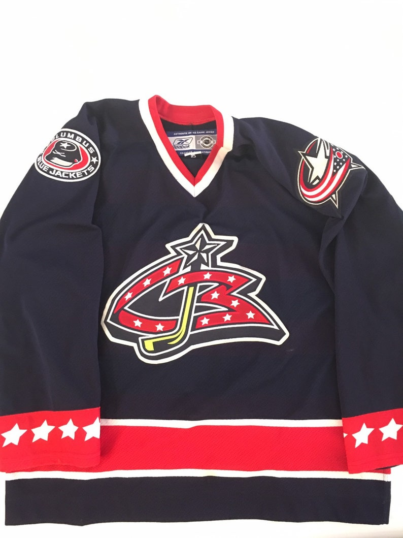 info for 250b7 7bf11 Rare Vintage !!!!!!!! Columbus Blue Jackets Authentic In Game Worn Jersey  (52)