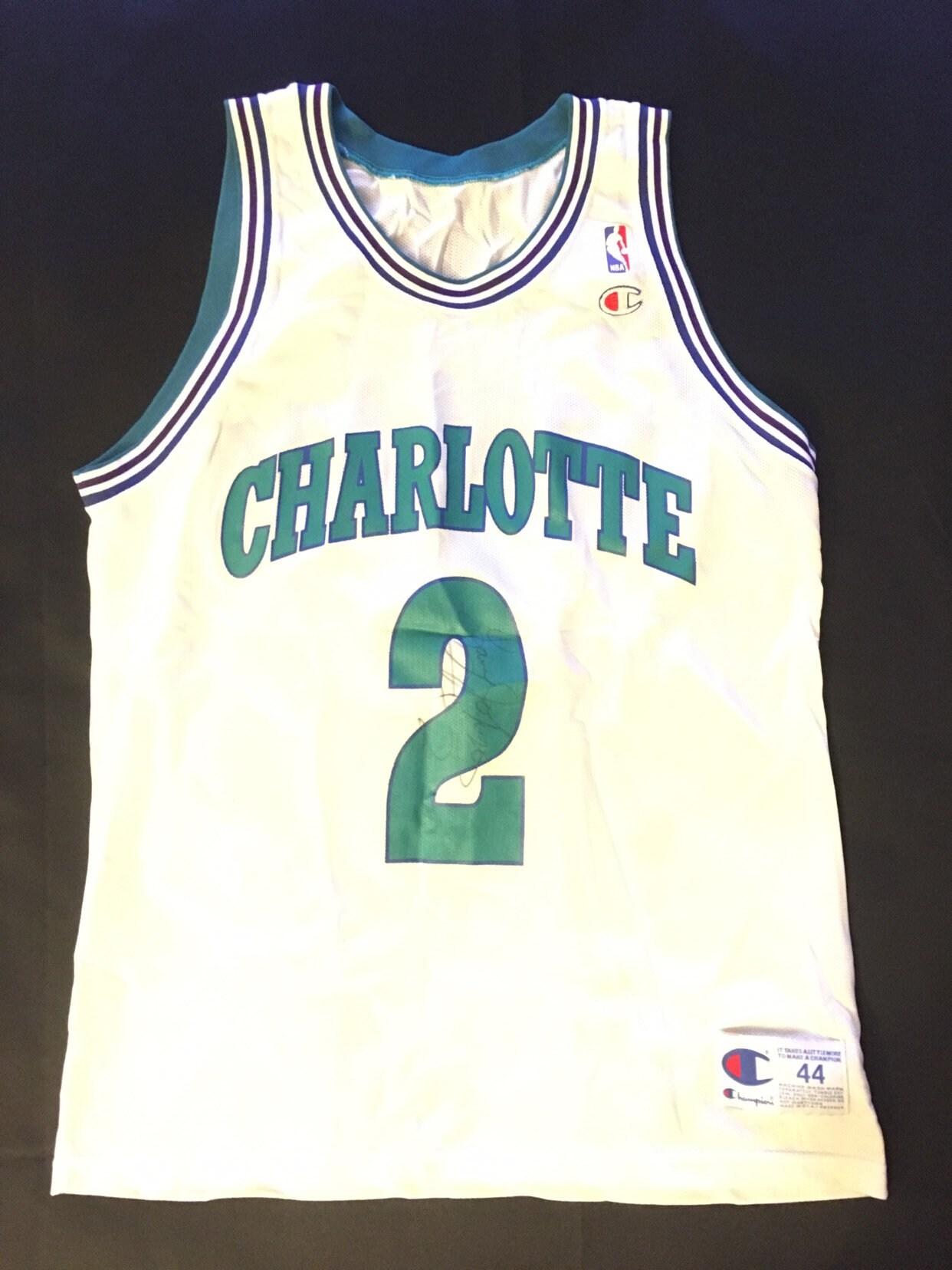 fc796216a Rare Larry Johnson Autograph Charlotte Hornets size large