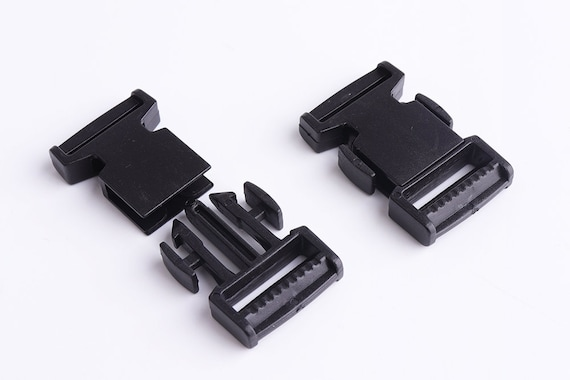 3 x SIDE RELEASE BUCKLES FASTENERS WEBBING LUGGAGE BAGS QUICK RELEASE 40MM BLACK