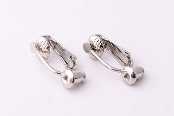 10 Brass Clip-on Earring Blanks Silver Gold Post Stud Converter Nickel Free 19mm