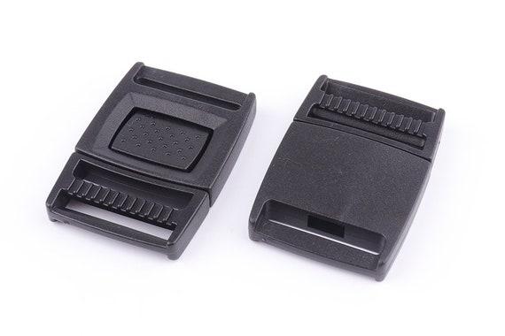Sliders 50mm Plastic Side sortie Buckle Clips fixation pour Sangles Noir